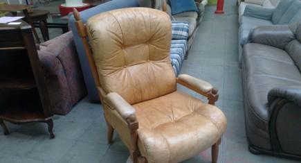 Кресло с ест.кожа,Винтидж ефект
