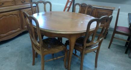 "Трапезна маса ""Луи ХV"" + 4 стола с ратан"