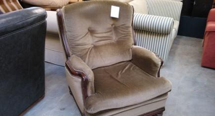Кресло единично с  плюшена дамаска