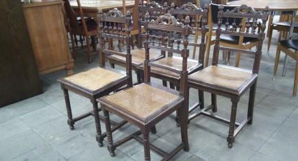 Старинни столове - 5бр.  с ратан