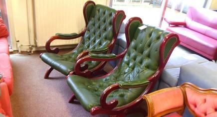 Кресла със зелена естествена кожа