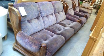 Мека мебел с дамаска и ратан