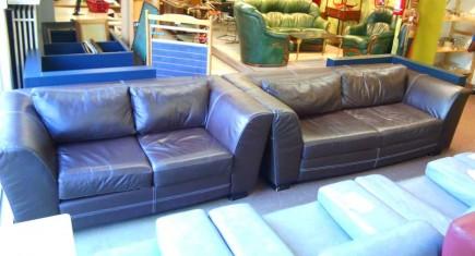 Мека мебел 3+2 с естествена кожа