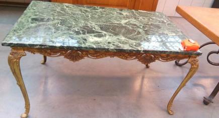 """Холна маса """"Луи ХV"""" със зелен мрамор"""