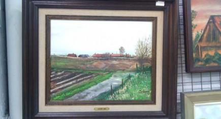"""Картина, маслени бои,платно """"Селска ферма"""""""