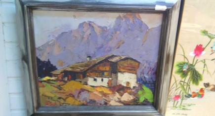 "Картина, маслени бои,платно ""Планинска къща"""