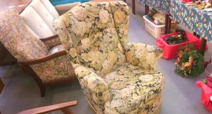 Единично кресло,с дамаска
