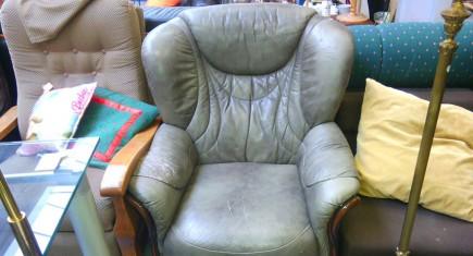 Единично кресло с ест. кожа