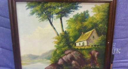 """Картина, маслени бои,платно с напукана боя """"Къща край езерото"""""""